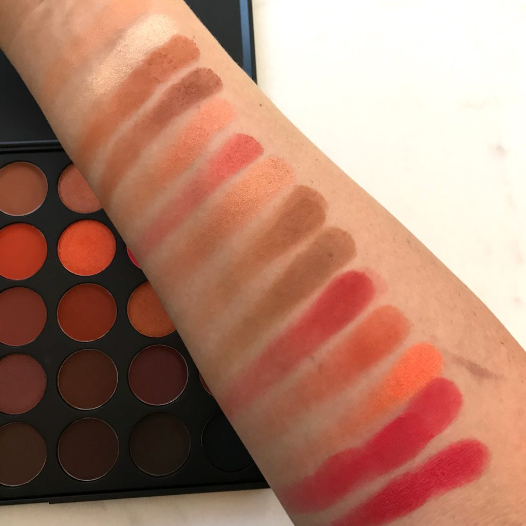 Morphe 3502 Palette Swatches on Medium skin tone